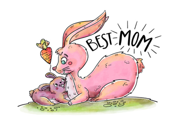 Cute Bunny Mom And Son With Lettering And Heart's Carrot - Free vector #438471