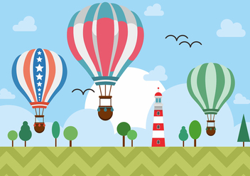 Hot Air Balloons Over Lighthouse Vector Design - бесплатный vector #438481