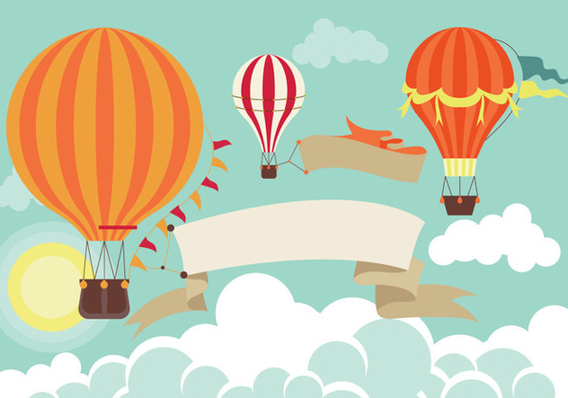 Hot Air Balloon in the Sky - Free vector #438491