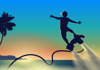 Athlete Flying on his Water Jet Vector - vector gratuit #438501