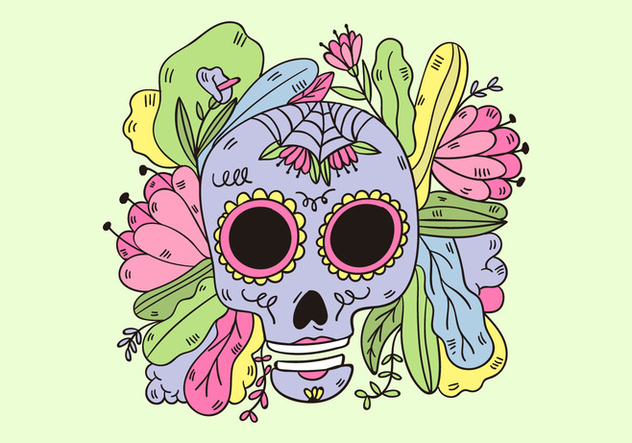 Cute Sugar Skull With Leaves And Flowers Mexican Culture - vector gratuit #438601