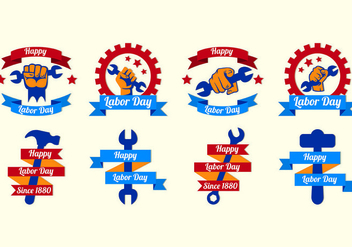 Happy Labor Day Vector Labels - vector gratuit #438611