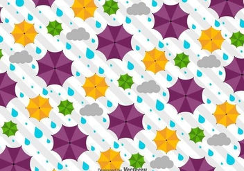 Vector Weather Pattern With Umbrellas - vector gratuit #438711