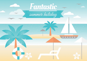 Free Summer Landscape Vector Greeting Card - Free vector #438761