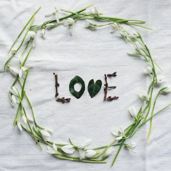 Love word made of leaves and branches - image #439271 gratis