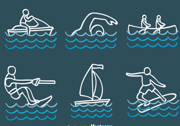 Sketch Water Sport Vectors - бесплатный vector #439301