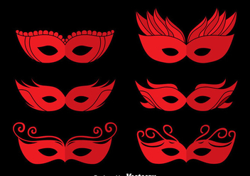 Red Masquerade Mask Vectors - Free vector #439311