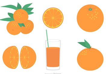 Flat Clementine Vector Set - Free vector #439391