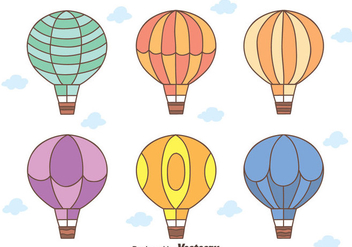Hand Drawn Hot Air Balloon vectors - бесплатный vector #439421