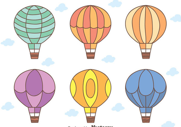 Hand Drawn Hot Air Balloon vectors - Kostenloses vector #439421