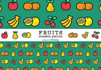 Flat Line Fruits Vector Seamless Pattern - бесплатный vector #439431
