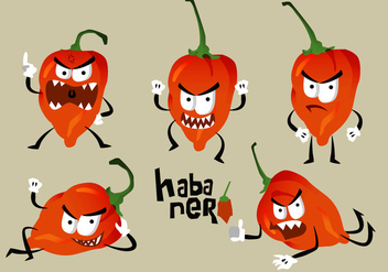 Hot Habanero Angry Character Pose Vector Illustration - vector gratuit #439551