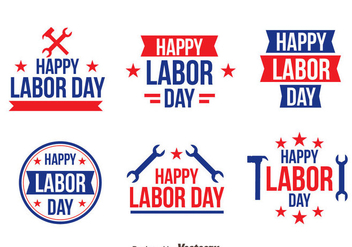 Happy Labor Day Logo Vectors - бесплатный vector #439571