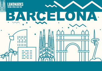 Barcelona City Skyline - vector #439641 gratis