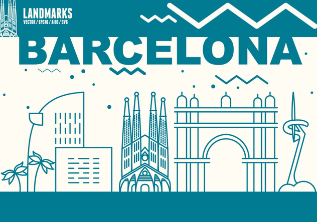 Barcelona City Skyline - Free vector #439641