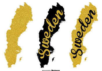 Gold Sweden Map Vector - бесплатный vector #439741