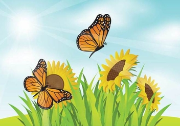 Free Mariposa With SunFlower Garden Illustration - Free vector #439761
