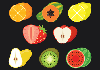 Fruit Slices Vector Icons Set - Free vector #439771