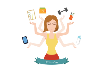 Busy Mom Element Vector - Kostenloses vector #439781