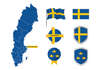 Sweden Map And Flag Free Vector - Kostenloses vector #439791