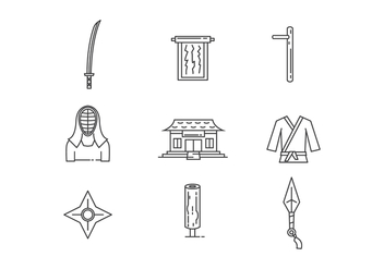 Outline Icons of Martial Arts Object - vector gratuit #439811