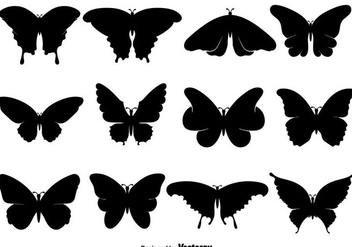 Black Butterfly Icons Or Silhouettes Set - vector gratuit #439831