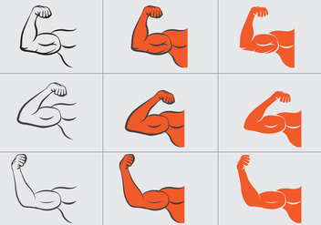 Flexing Hand Vector Set - Free vector #439851