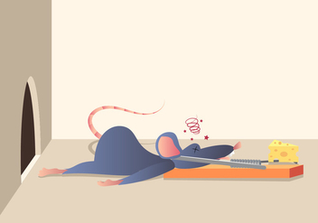 A Mouse Caught In A Mouse Trap - vector #439911 gratis