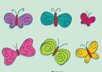 Hand Drawn Colored Butterfly Collection Vectors - Free vector #439941