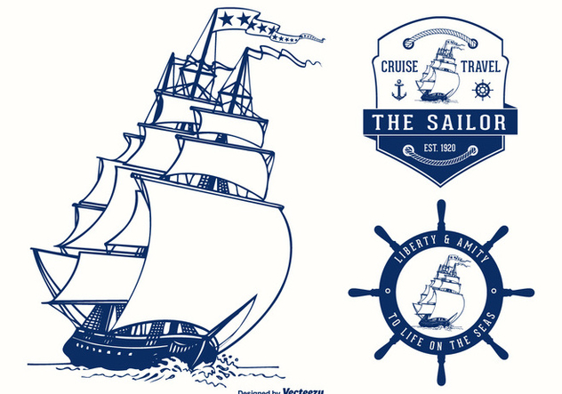 Colonial Vessel Badges Vector Design - vector #440001 gratis