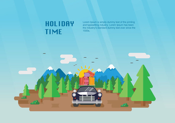 Happy Holiday Carpool Vector Flat Illustration - Kostenloses vector #440031