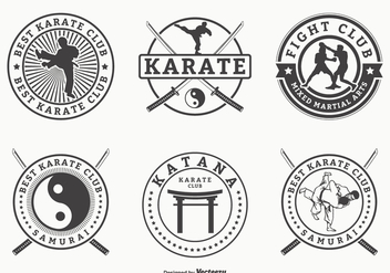 Retro Martial Arts And Karate Vector Badges - Free vector #440151