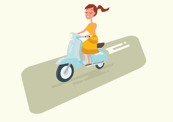 Girl Driving Vintage Scooter - vector gratuit #440241