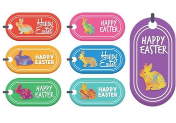 Easter gift tag vector set - бесплатный vector #440251