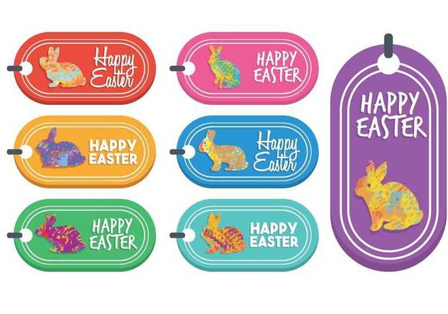Easter gift tag vector set - Free vector #440251