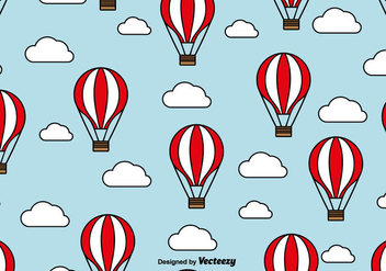 Hot Air Balloon Seamless Pattern With Clouds - vector gratuit #440331