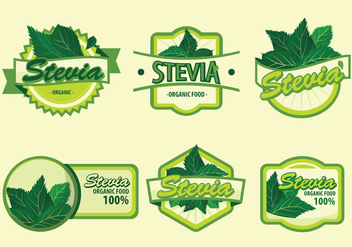 Fresh Green Stevia Label Vector Illustration - Free vector #440401