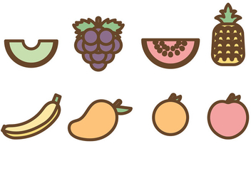 Flat Fruit Icons Vector - vector gratuit #440431