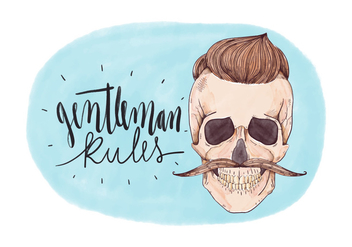 Vintage Skull Man With Moustache And Lettering - Free vector #440571