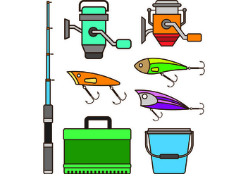 Set Equipment Icon Of Fishing Tackle - vector #440701 gratis