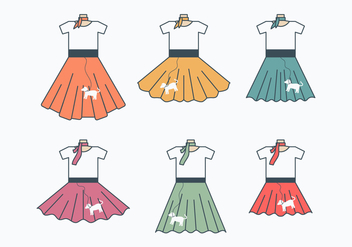 Retro Poodle Skirt Collection - vector gratuit #440771