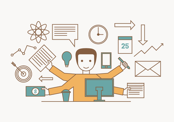 Multitasking Illustration - Free vector #440781