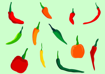 Chili Peppers Vector Set - бесплатный vector #440811