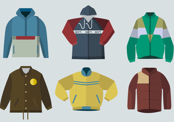 Color Windbreaker Jacket Flat Vector Illustration - vector gratuit #440871