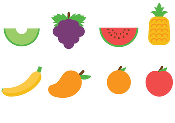 Flat Fruit Icons Vector - vector gratuit #440881