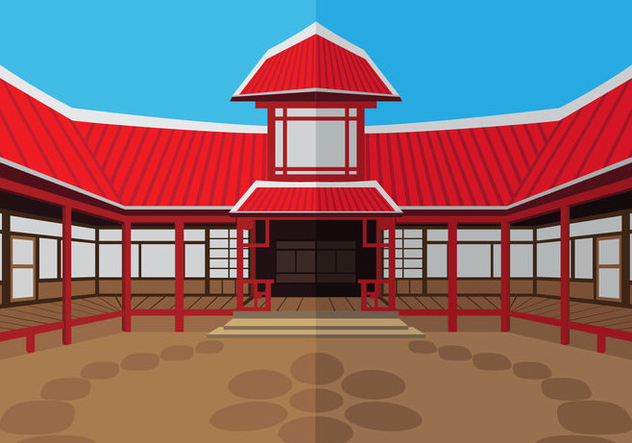 The outside dojo temple - vector gratuit #440901