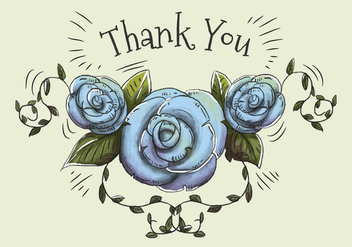 Hand drawn and watercolor illustration of blue roses and leaves to say thank you. - Kostenloses vector #440911