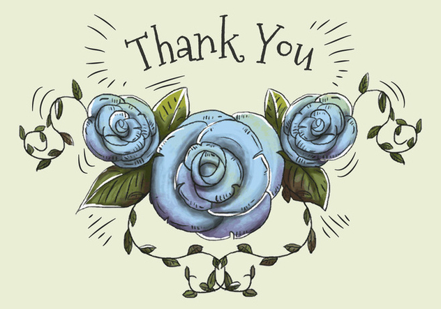 Hand drawn and watercolor illustration of blue roses and leaves to say thank you. - vector gratuit #440911