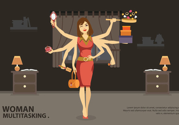 Multitasking Jobs Women Vector Illustration - vector #441021 gratis