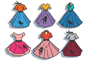 Poodle skirt vector set - Free vector #441111